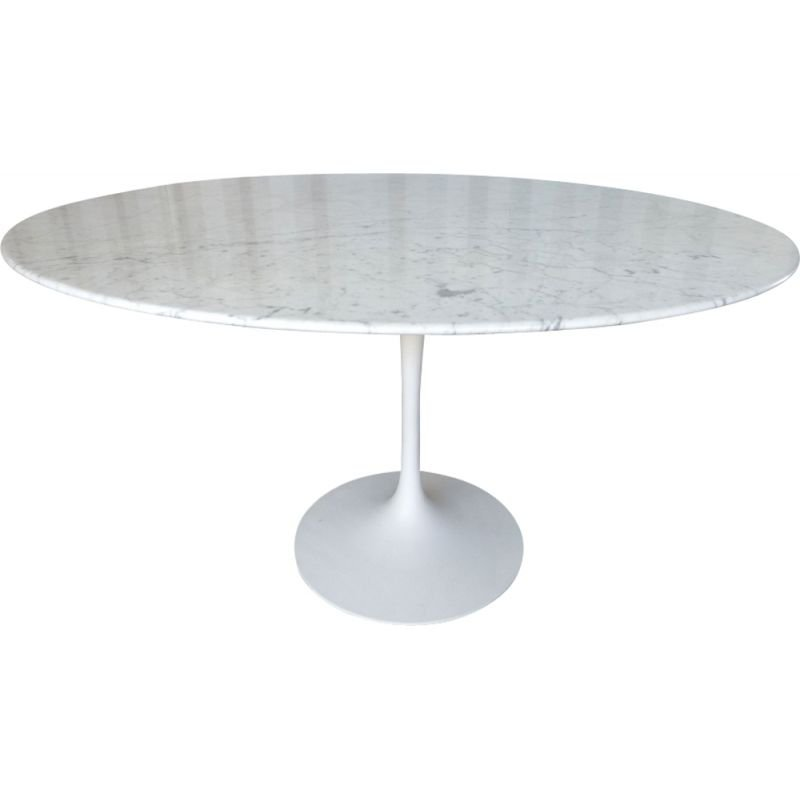 Vintage tulip table 120cm in carrara marble by Knoll