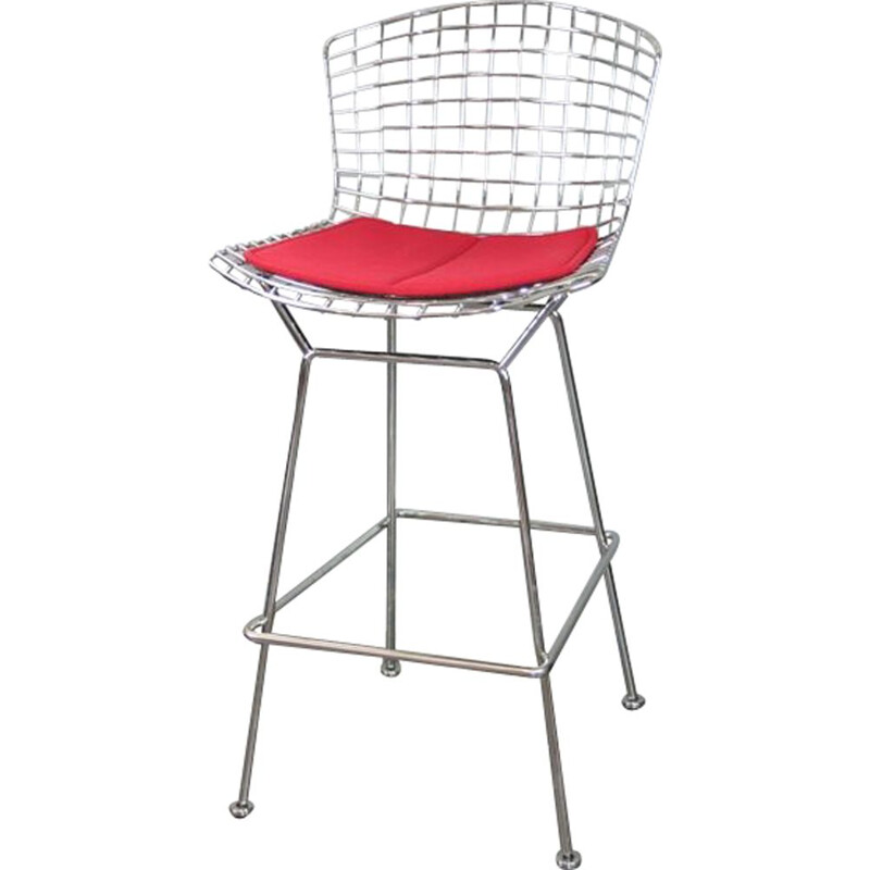 Vintage bar stool in chrome by Harry Bertoia for Knoll