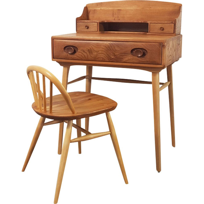 Vintage writing desk and chair by Lucian Ercolani for Ercol