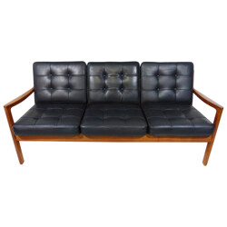 Senator sofa in wood and leather, Ole WANSCHER - 1950s