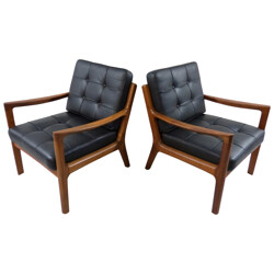 Pair of armchairs in wood and black leather, Ole WANSCHER - 1950s