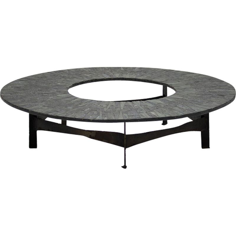 Vintage circular coffee table by Pia Manu