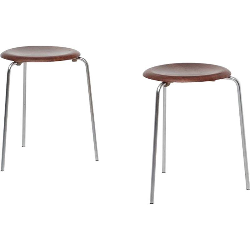 Set of 2 dot stacking stools by Arne Jacobsen
