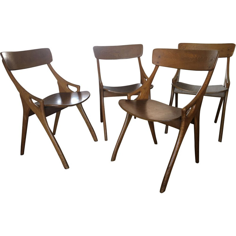 Set of 4 vintage dining chairs by Arne Hovmand Olsen for Mogens Kold