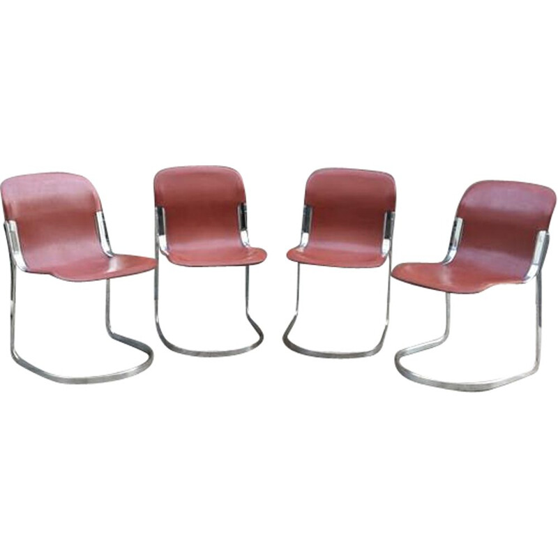 Set of 4 vintage chairs by Willy Rizzo for Cidue