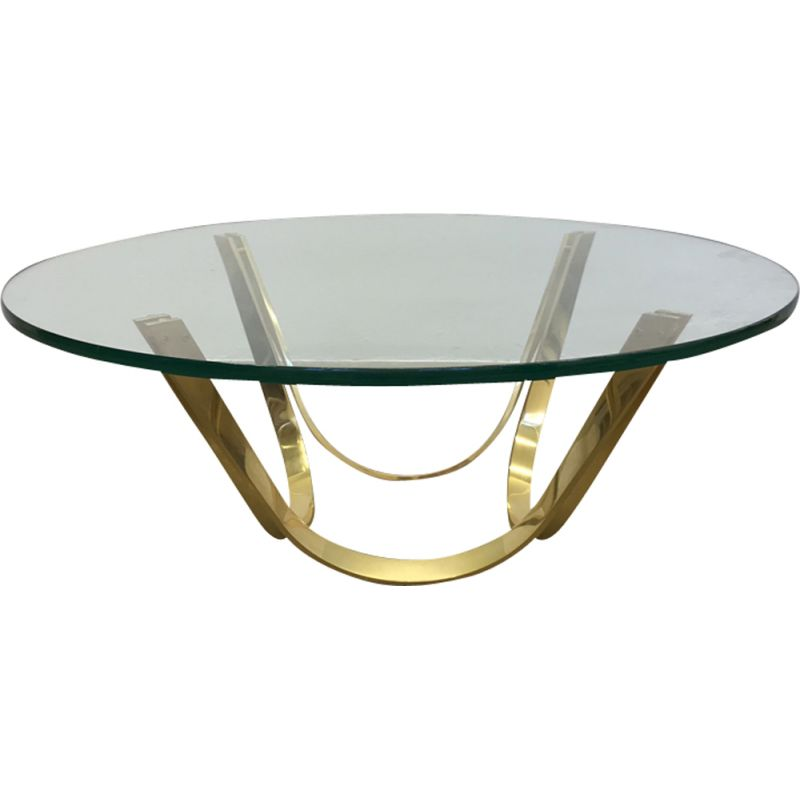 Vintage Glass Coffee Table By Roger Sprunger For Dunbar