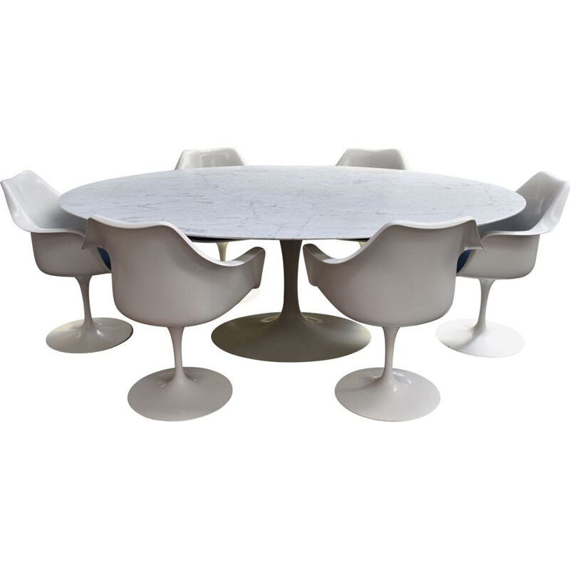 Vintage dining set in marble by Eero Saarinen for Knoll