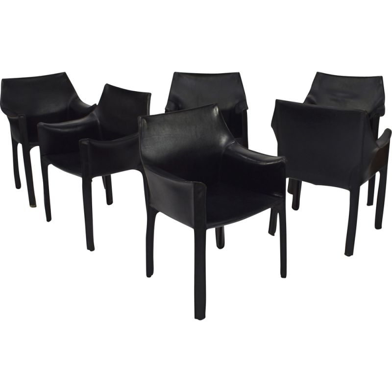Set of 6 vintage armchairs CAB 413 by Mario Bellini for Cassina