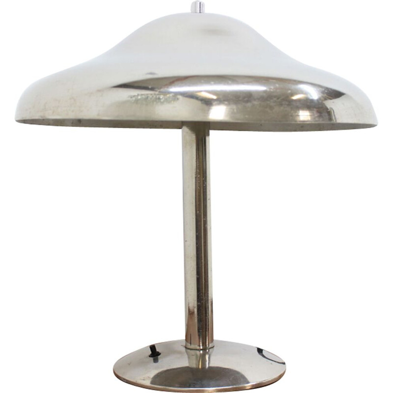 Vintage Czech table lamp bauhaus in chrome