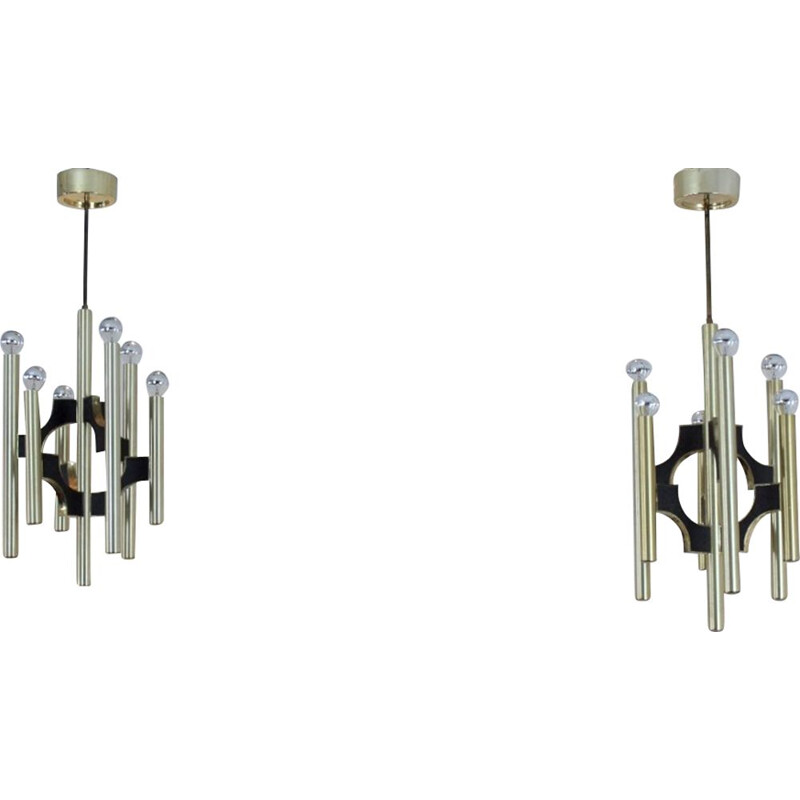 Set of 2 vintage Italian chandeliers in brass by Gaetano Sciolari