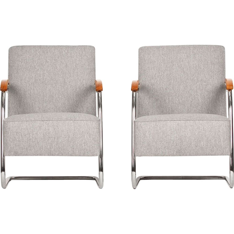 Set of 2 vintage armchairs in tubular steel by Mücke-Melder