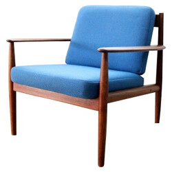 Pair of 118 Scandinavian armchairs in teak and wool, Grete JALK, France & Son edition - 1950s