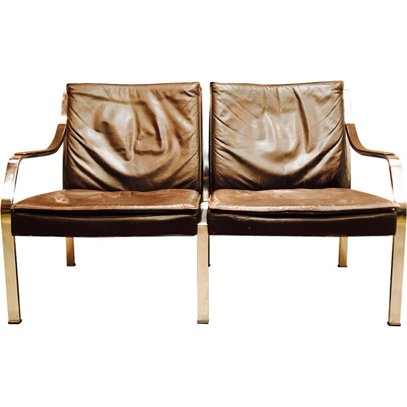 Vintage 2 seater sofa in brown leather by Walter Knoll