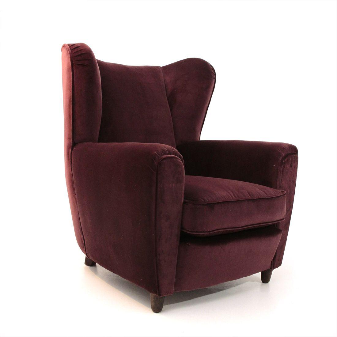 Vintage Italian burgundi velvet purple armchair - Design ...