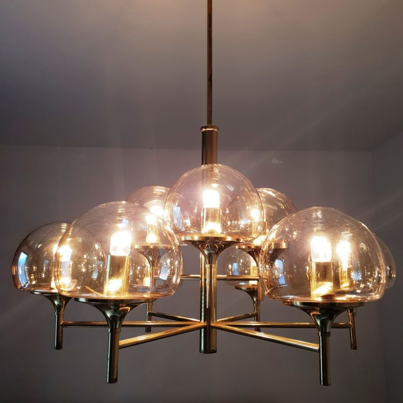 9 Arms brass chandelier with smoked glass globes | #86258