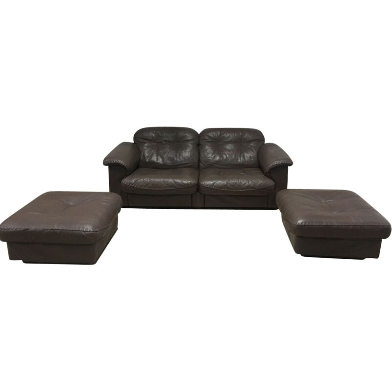 Vintage living room set Sede DS 101 made of Tan Leather