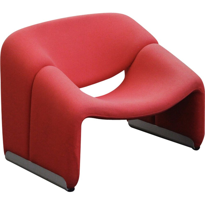 "Vintage red armchair ""Groovy"" by Pierre Paulin for Artifort"