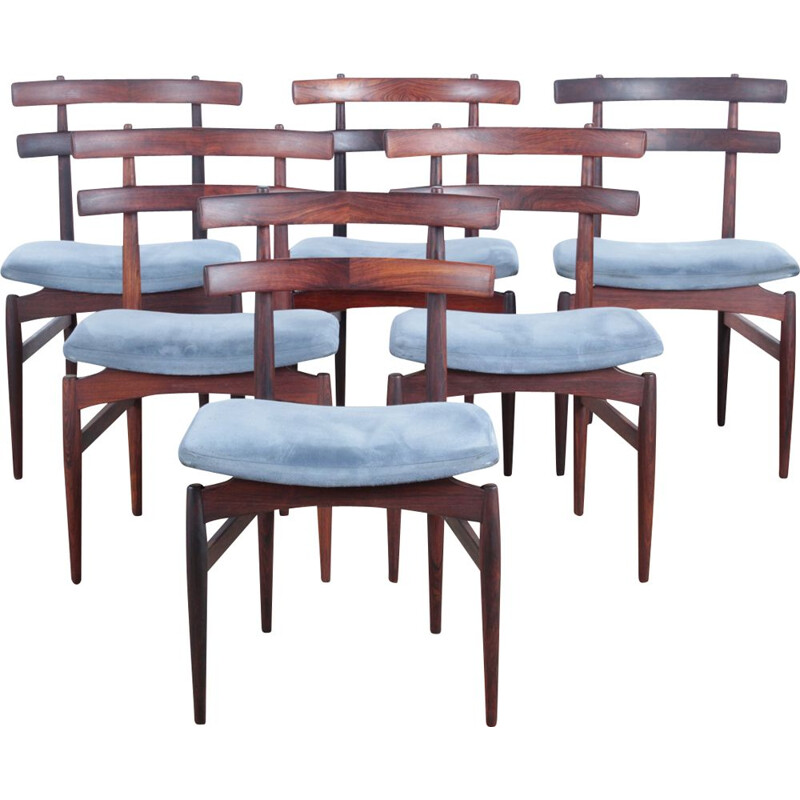 6 Scandinavian chairs Rio rosewood, Poul Hundevad