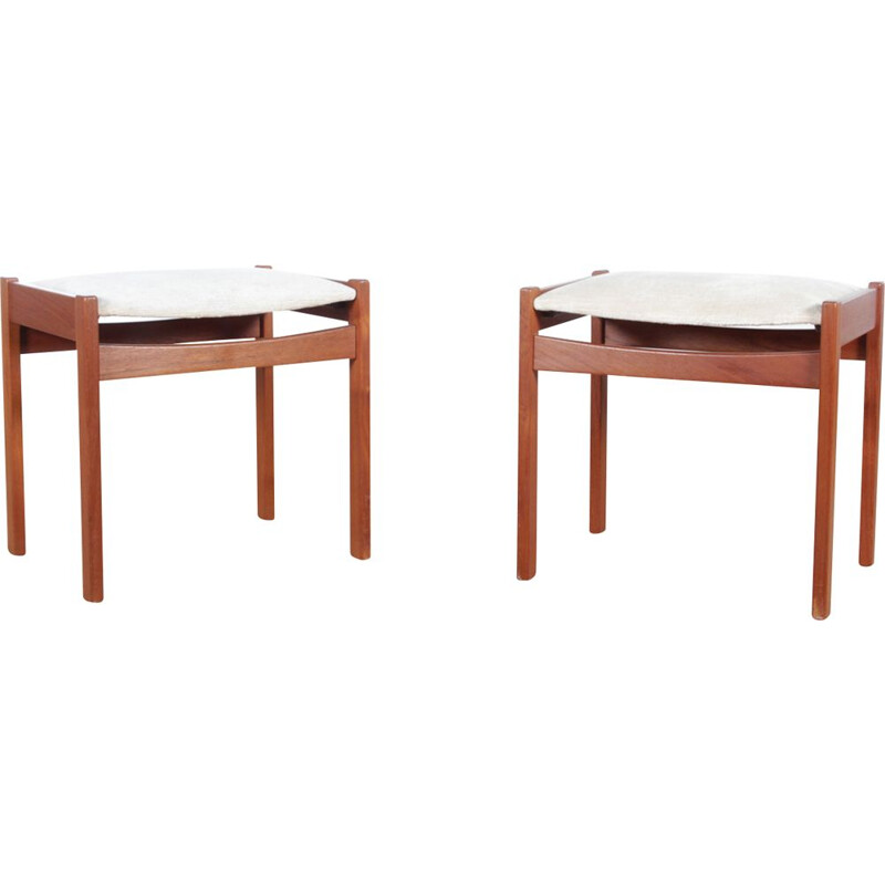Set of 2 Scandinavian stools in teak