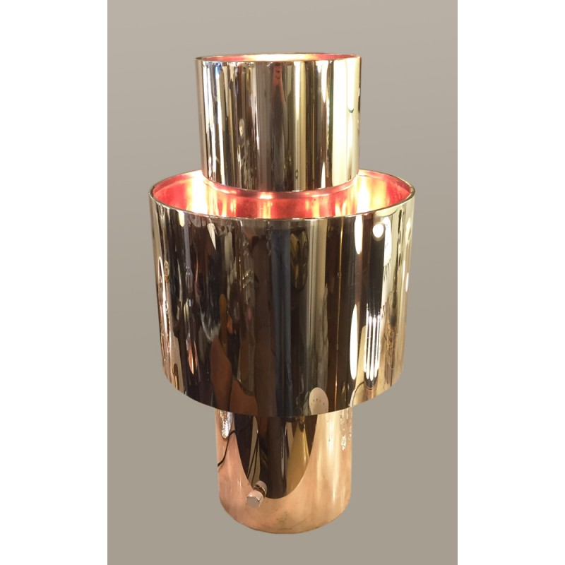Love Lamp In Stainless Steel And Copper Willy Rizzo 1970s