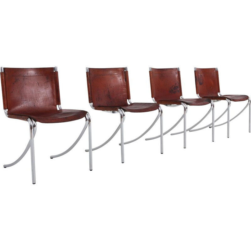 "Set of 4 vintage chairs ""Jot"" in red leather by Giotto Stoppino for Acerbis"