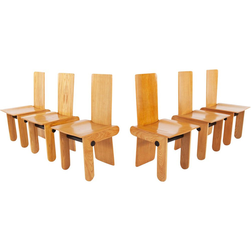 Set of 6 vintage dining chairs by Carlo Scarpa for Gavina