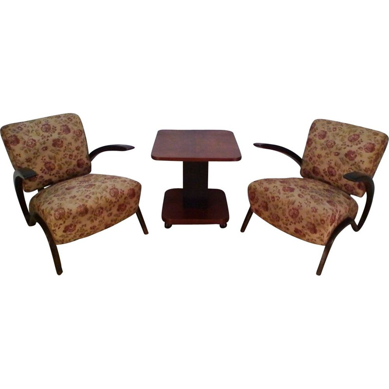 Pair of vintage Jindrich Halabala H-275 armchairs and coffee table 1930