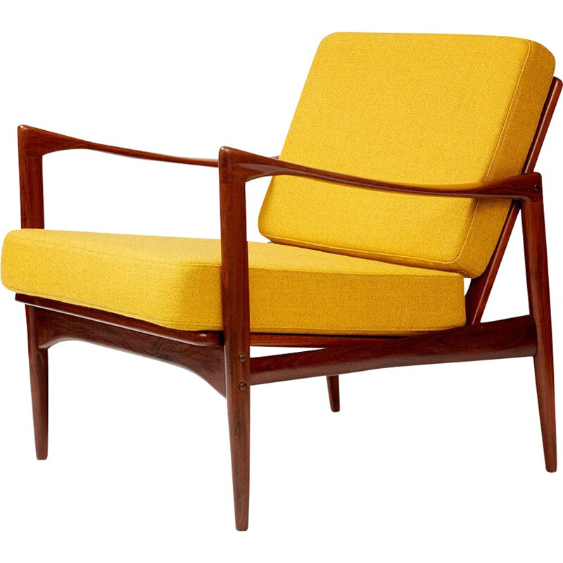 Vintage yellow Candidate armchair by Ib Kofod-Larsen for OPE