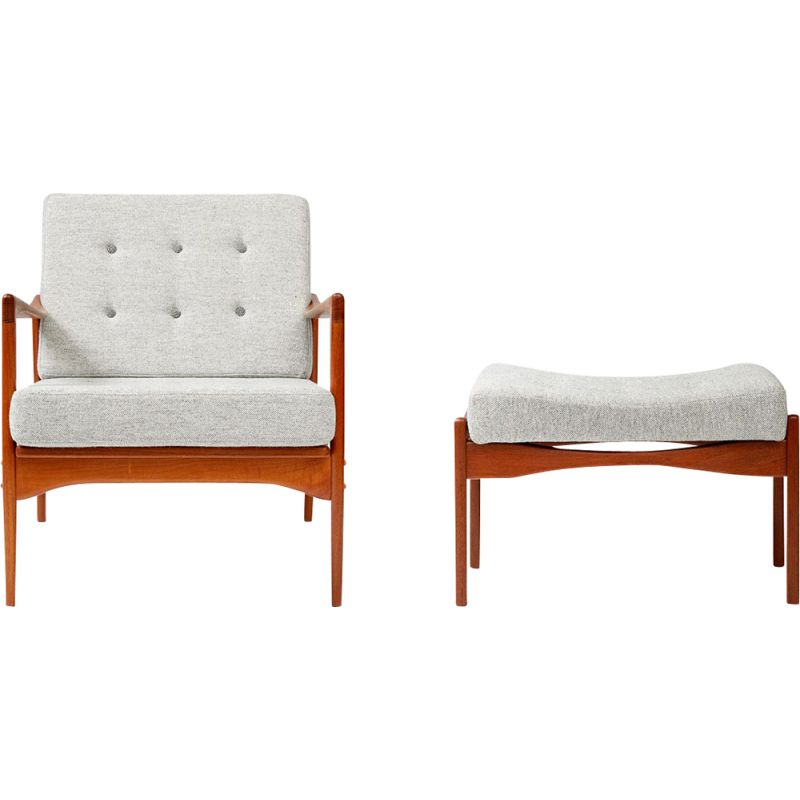Vintage Candidate armchair and Siesta stool by Ib Kofod-Larsen