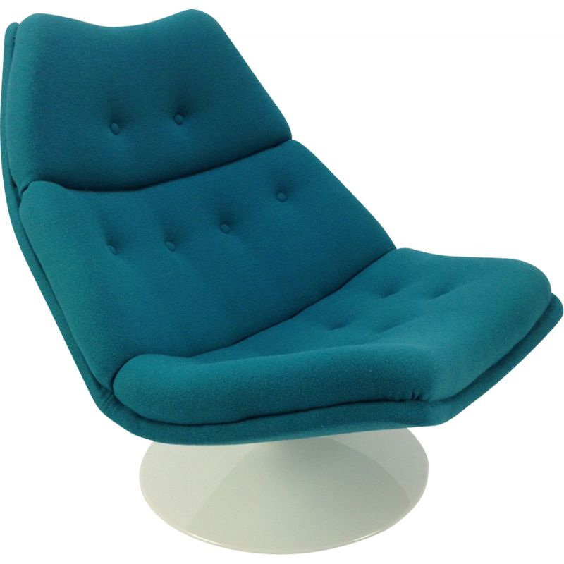 Vintage blue lounge chair F511 by Geoffrey Harcourt for Artifort