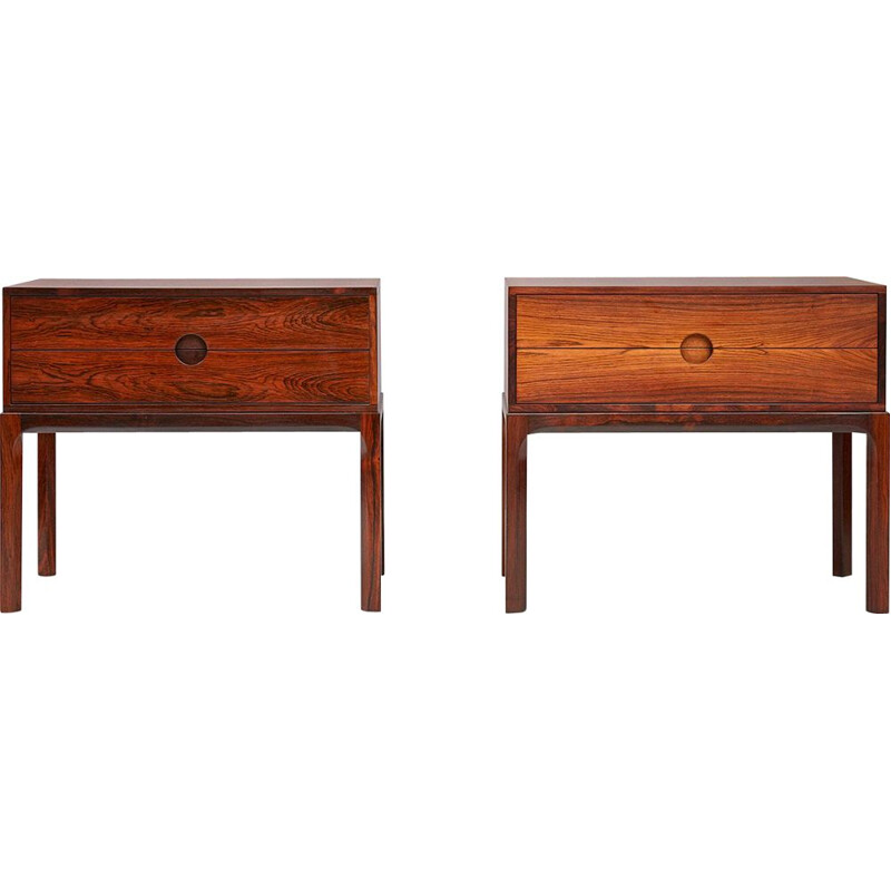 Set of 2 vintage night stands in rosewood by Kai Kristiansen