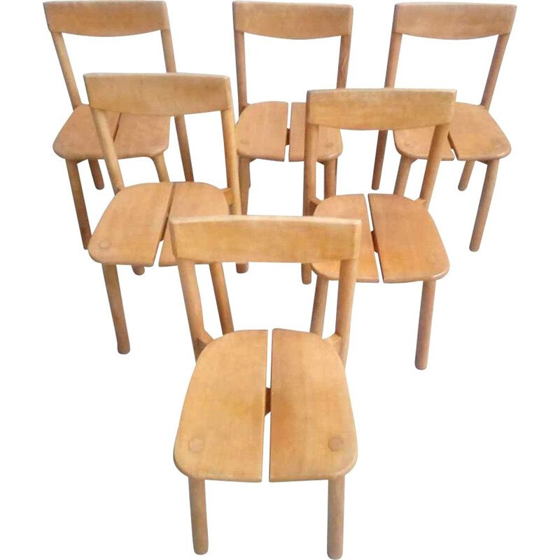 Set of 6 vintage chairs by Pierre Gautier Delaye