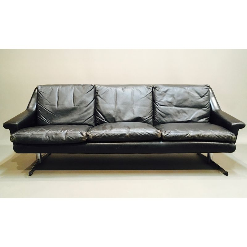 Vintage 3 Seater Sofa In Black Leather Design Market