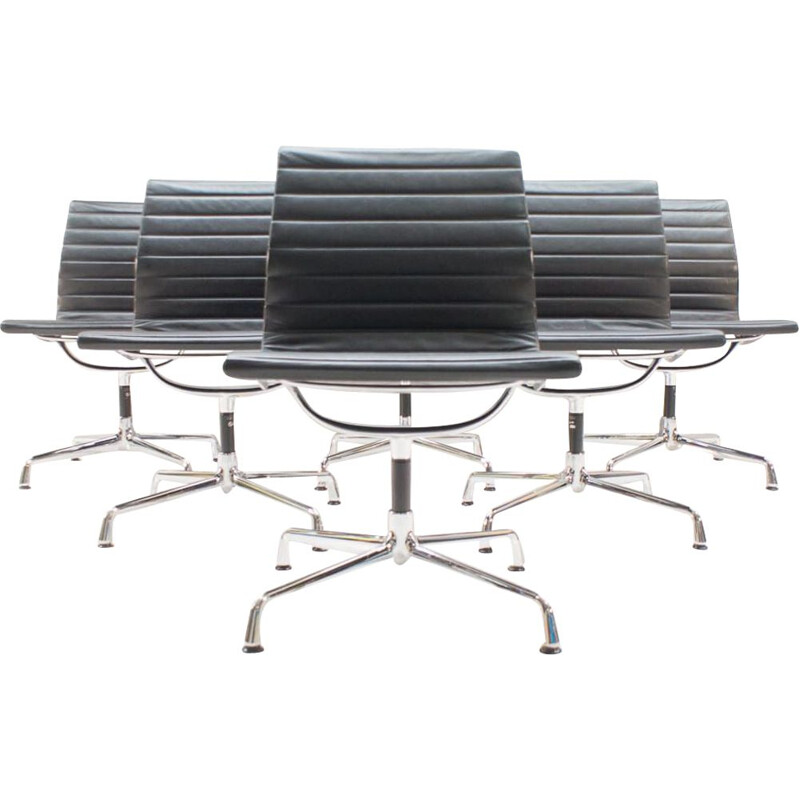 Set of 6 vintage EA 105 desk chairs by Charles & Ray Eames for Vitra