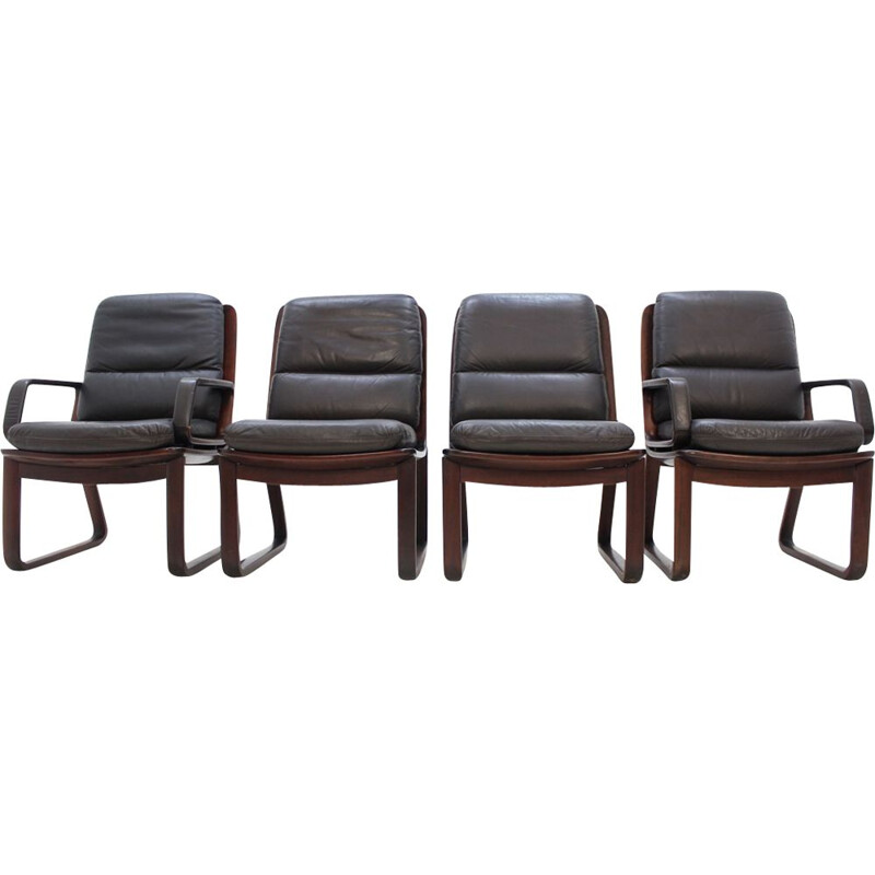Set of 4 vintage armchairs in leather by Eugen Schmidt