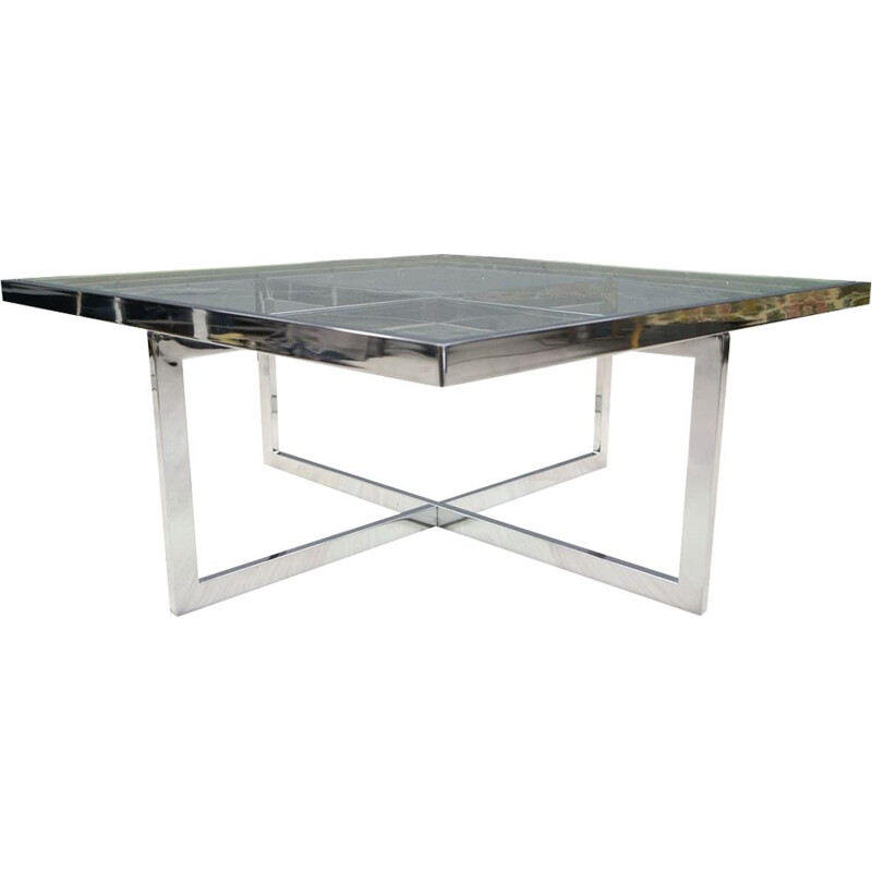 Vintage coffee table in chrome and brass by Maison Charles