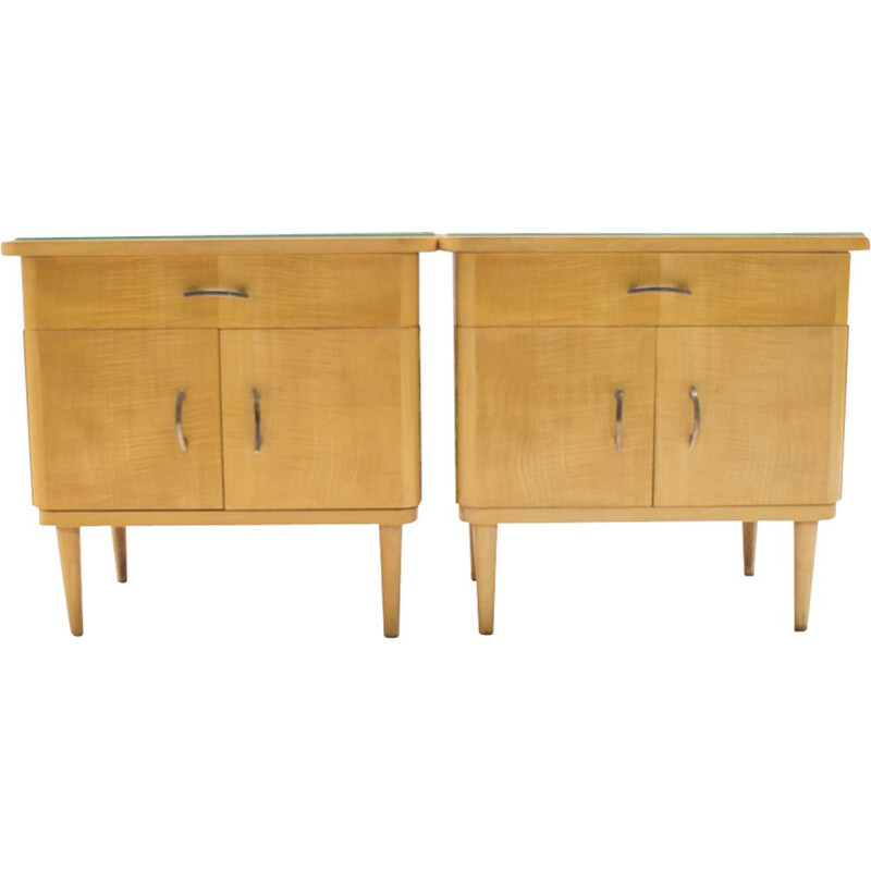 Set of 2 vintage nightstands in wood and glass