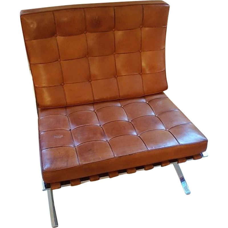 Vintage Barcelona Chair In Cognac Leather By Knoll