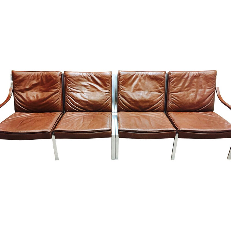 Vintage 4-seater sofa in leather