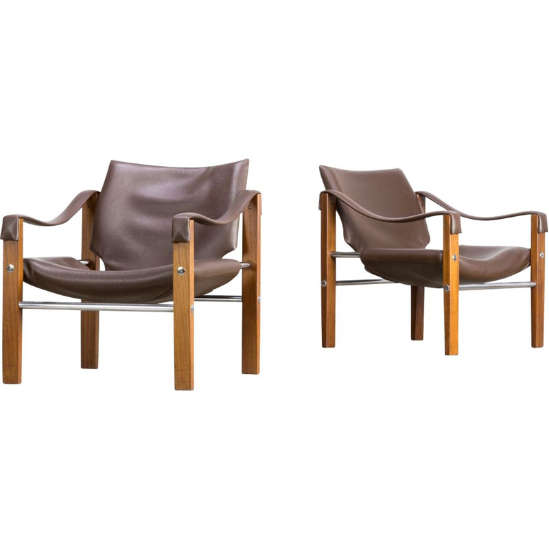 Set of 2 vintage Safari armchairs by Maurice Burke