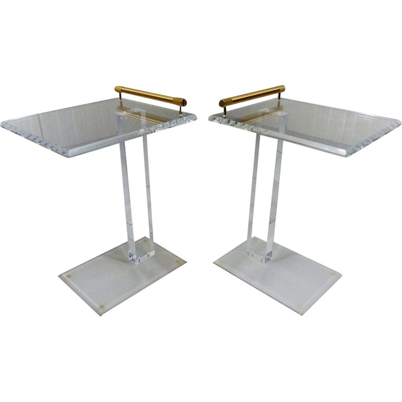 Set of 2 side tables in plexiglas and brass
