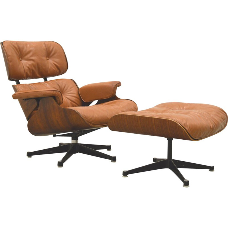 Vintage beige lounge chair and ottoman in rosewood, Charles Eames for Herman Miller