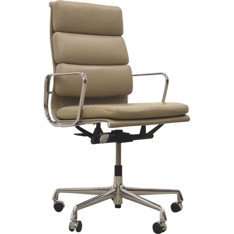 Office chair EA219 in beige leather by Charles Eames for Vitra