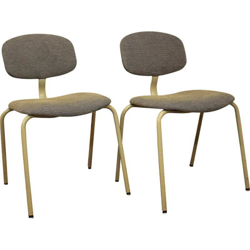 Pair of vintage Steelcase Strafor chairs in steel and fabric 1970