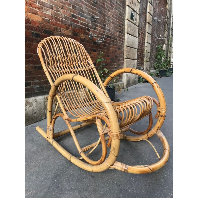 Terrific Vintage Italian Rocking Chair In Bamboo And Rattan Design Gmtry Best Dining Table And Chair Ideas Images Gmtryco