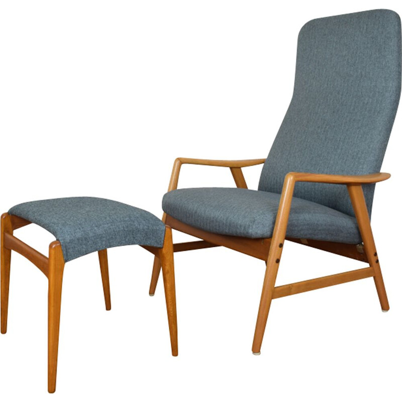 Vintage blue lounge chair and ottoman Kontur by Alf Svensson for Fritz Hansen