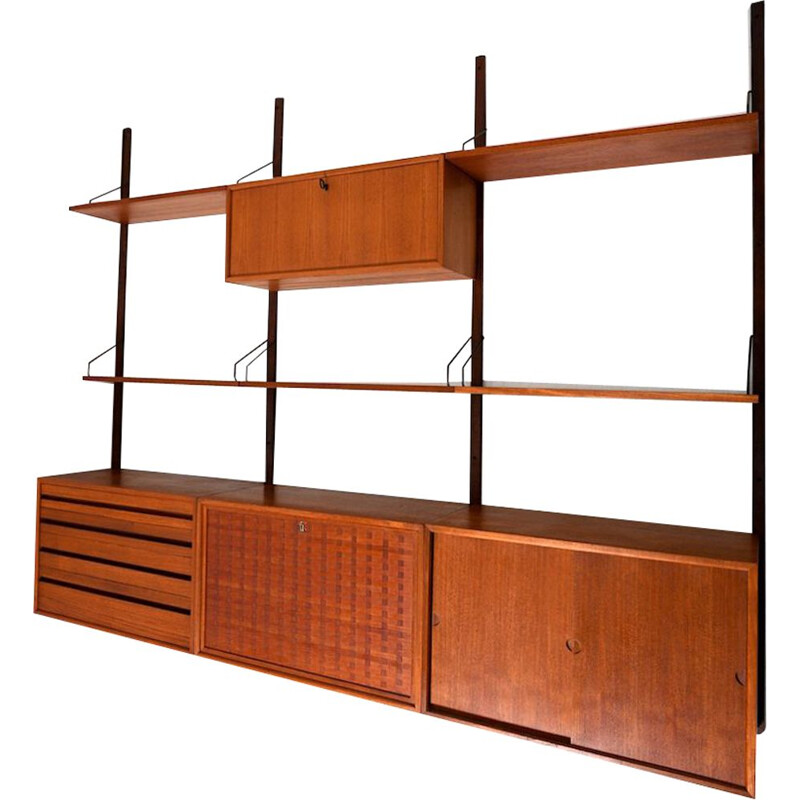 Vintage Poul Cadovius Royal wall system in teak 1960