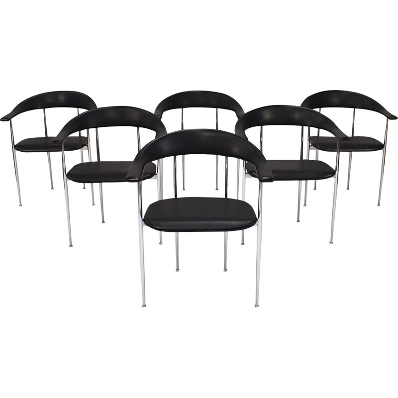 Set of 6 vintage black dining chairs in rubber by Fasem 1980