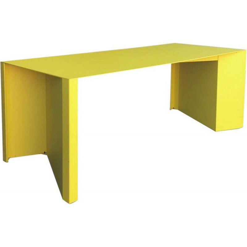 Vintage yellow metal coffee Z-table by Claire Bataille and Paul Ibens for Bulo