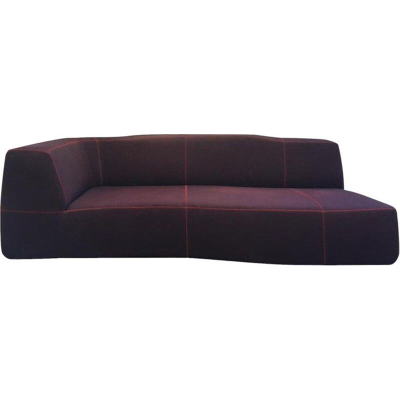 Vintage B&B italia sofa Model Bend by Patricia Urquiola in purple fabric